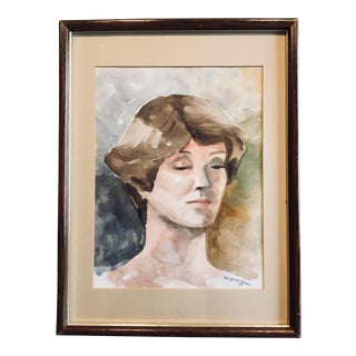 Vintage Mid-Century Watercolor Portrait