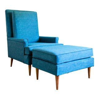 Mid Century Upholstered Highback Chair and Ottoman - 2 Pieces For Sale