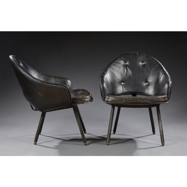 Black Jacques Adnet (1900-1984), Pair of Armchairs, Circa 1960 For Sale - Image 8 of 8