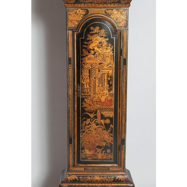 George II Lacquered Chinoiserie Tall Case Clock Inscribed Jno. Fladgate, London For Sale - Image 4 of 13