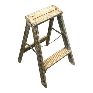 Vintage Industrial Gray Wood Step Ladder