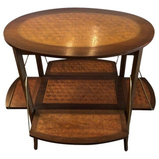 1940s Art Deco Oval Two-Tier Marquetry Tea Side Table For Sale