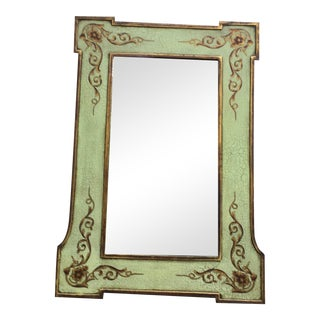 Early 21st Century Hand-Painted Light Green Rectangular Wooden Mirror For Sale