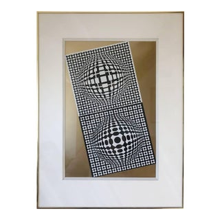"Victor Vasarely ""Violon"" Screenprint, Dated 1982, Signed and Numbered For Sale"