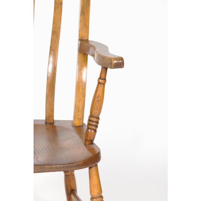 English Elm Vertical Slat Back Armchair Circa 1890 With Turned Legs and H-Stretcher For Sale - Image 9 of 13
