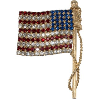 "Large 3.25"" Thelma Deutsch Vintage American Flag Pin Brooch Patriotic Facing Left For Sale"