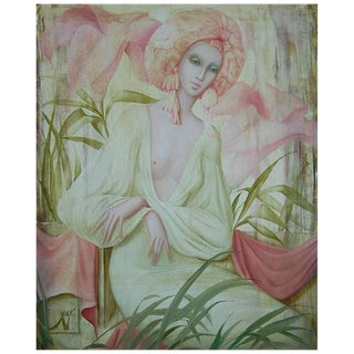 """Vintage Mid Century """"Les Fleur Amoureuse"""" Woman Oil Painting by Philippe Augé For Sale"""