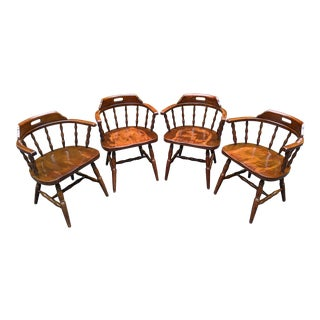 1970s Shelby Williams Dark Walnut Tavern Barrel-Style Windsor Arm Chairs - Set of 4 For Sale