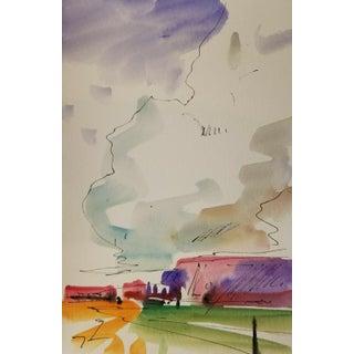 Jose Trujillo Western Art Clouds Original Watercolor Painting Study Medium For Sale