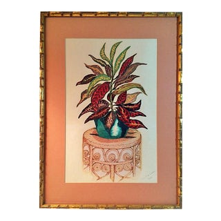 Original Tropical Plant Painting in Faux Bamboo Frame, 1983