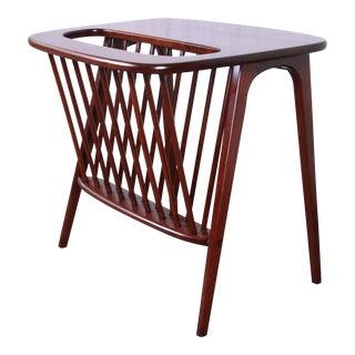 Arthur Umanoff Mid-Century Modern Walnut Magazine Rack Side Table For Sale
