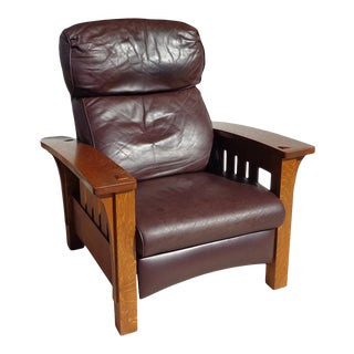 1980s Stickley Mission Collection Oak Bow Arm Morris Recliner For Sale