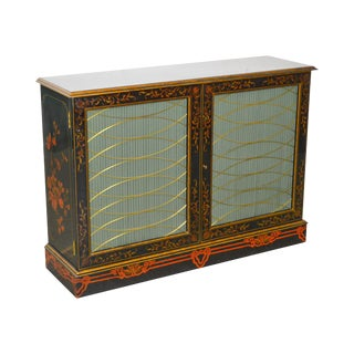 Maitland Smith Regency Style Paint Decorated Console Cabinet For Sale