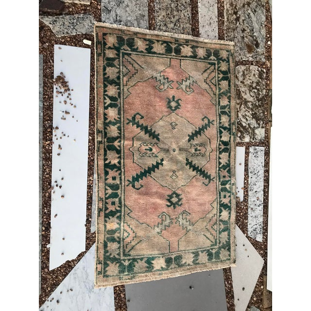 """1950s Hand Made Vintage Tribal Turkish Runner Rug With Greens and Peach 2'9""""x4'2"""" For Sale - Image 5 of 10"""