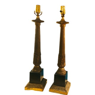 Vintage Stiffel Brass and Black Enamel Over Metal Base Lamps - a Pair For Sale