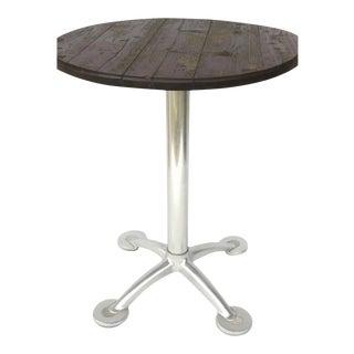 Vintage Aluminum Pedestal Based Bistro Table with Wood Top For Sale