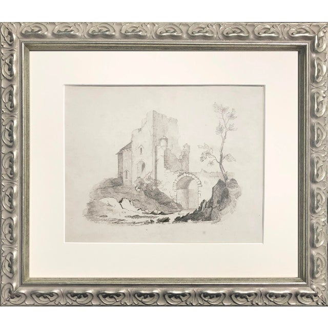 Antique 19th Century English Graphite Landscape Drawing With Castle C.1850 For Sale In New York - Image 6 of 6