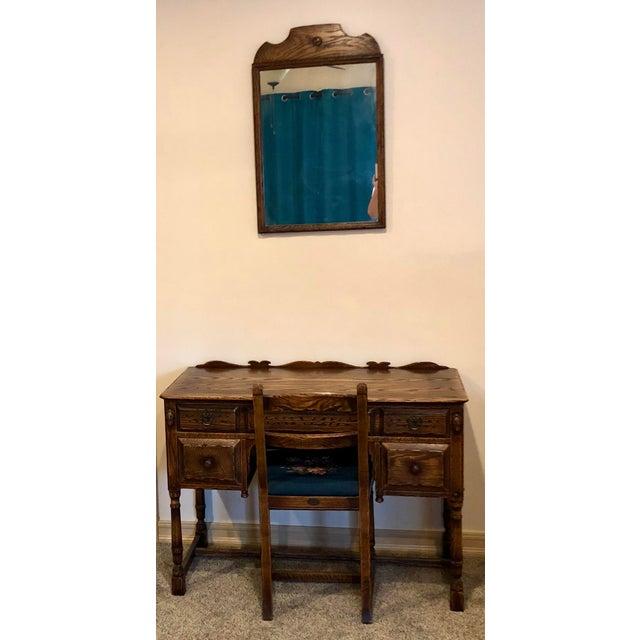 Vintage Mid Century Jamestown Lounge Co. Feudal Oak Desk Set- 3 Pieces For Sale - Image 13 of 13