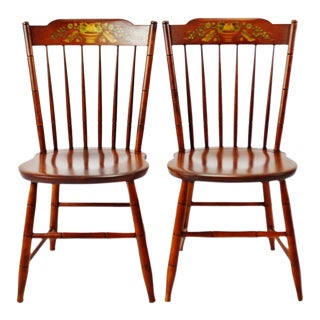 Vintage Hitchcock Harvest Maple Side Chairs - a Pair For Sale