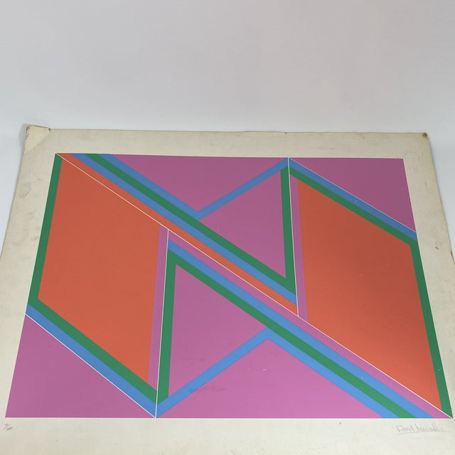 """1970s David Leverett Signed and Numbered """"Untitled"""" Serigraph Unframed For Sale - Image 9 of 13"""
