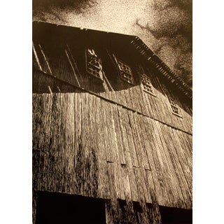 """Malcolm Childers """"Wooden Mastadon"""" Old Barn Signed Unframed Etching, 1978 Edition of 50 For Sale"""