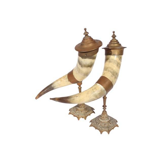 Victorian Brass Drinking Horns - Pair - Image 1 of 3