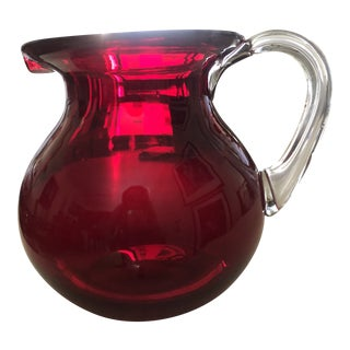 1960s Cranberry Glass Pitcher For Sale