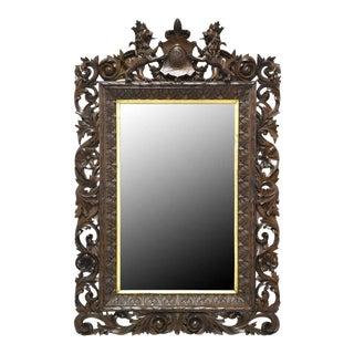 19th Century German Carved Black Forest Walnut Mirror