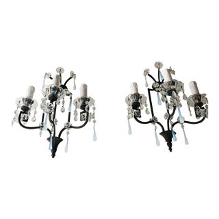 Bronze Murano Iridescent Drops Crystal French Sconces, circa 1900 For Sale