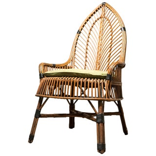 Mid-Century Antique Wicker Chair For Sale