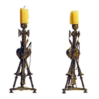 1850s French Gilt Military Trophy Candlesticks - a Pair For Sale