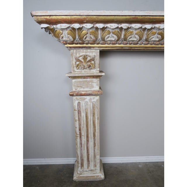 19th Century Italian Painted and Parcel Gilt Fireplace Mantel For Sale - Image 9 of 13