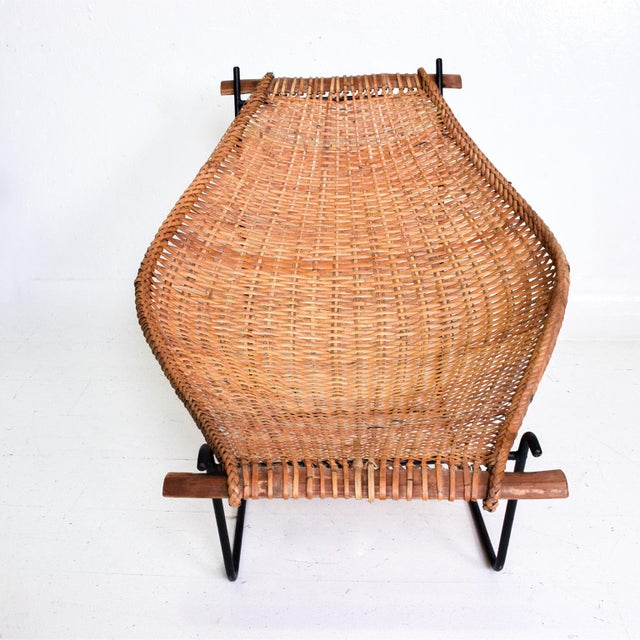 John Risley John Risley Wicker & Iron Chair, Mid Century Modern For Sale - Image 4 of 11
