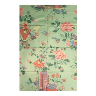Chinoiserie Celedon Green Glazed Chintz Fabric With Flowers in Vases For Sale