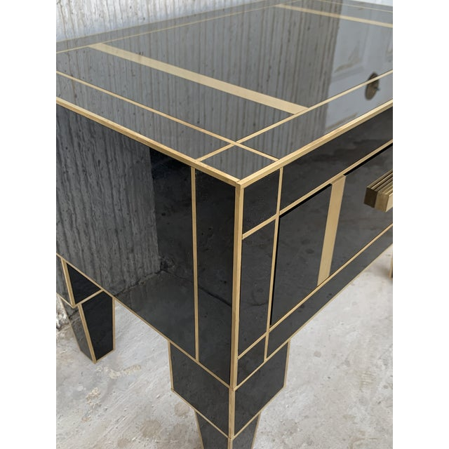 New Pair of Mirrored Low Nightstand in Black Mirror and Chrome With Drawer For Sale - Image 10 of 11