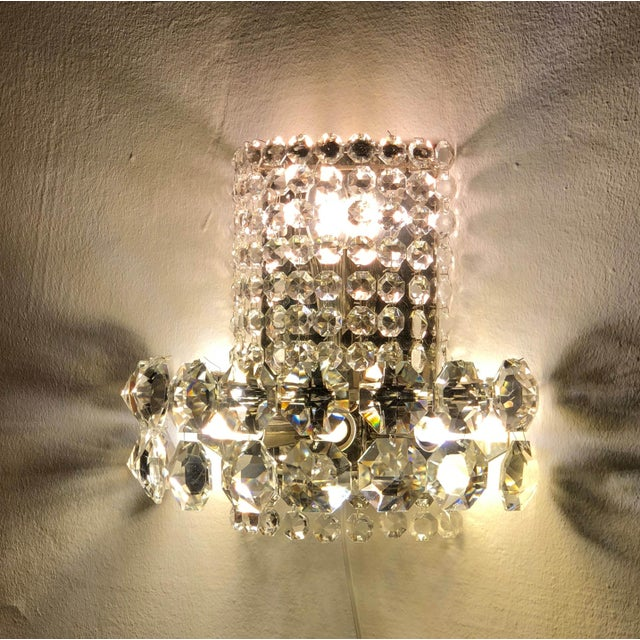 Pair of Large Crystal Sconces by Bakalowits and Sohne For Sale - Image 12 of 13