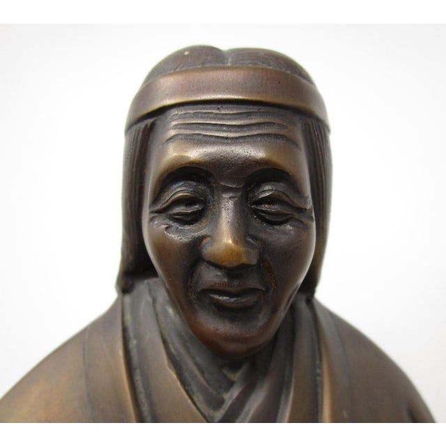 Japanese Farmer and Wife Bronze Figures - a Pair For Sale - Image 4 of 13