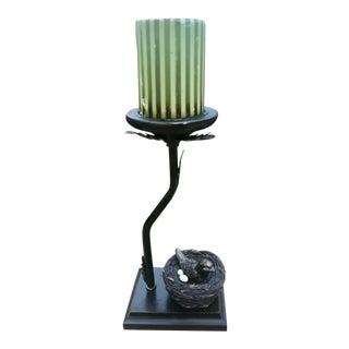 Vintage Bronze Bird in Nest Candleholder For Sale