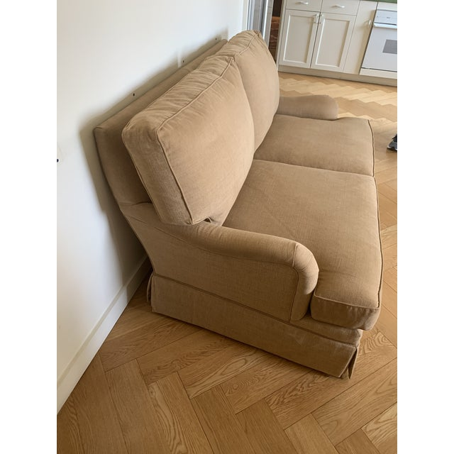 Loveseat Custom With Bridge Water Arm, Turned Legs on Casters. For Sale - Image 4 of 5