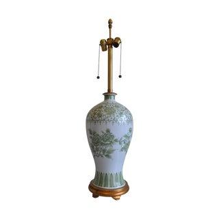 Marbro Vintage Porcelain Green & White Lamp For Sale