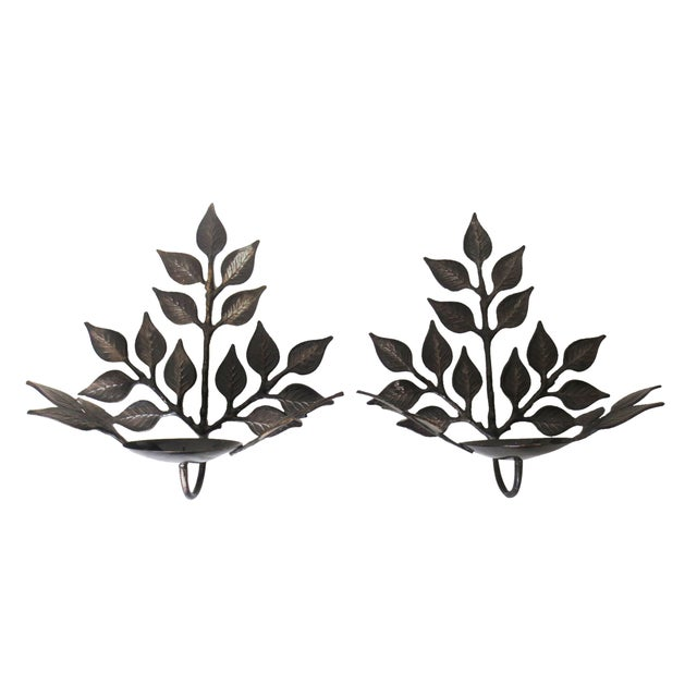 Leaf Candle Sconces - A Pair - Image 1 of 6