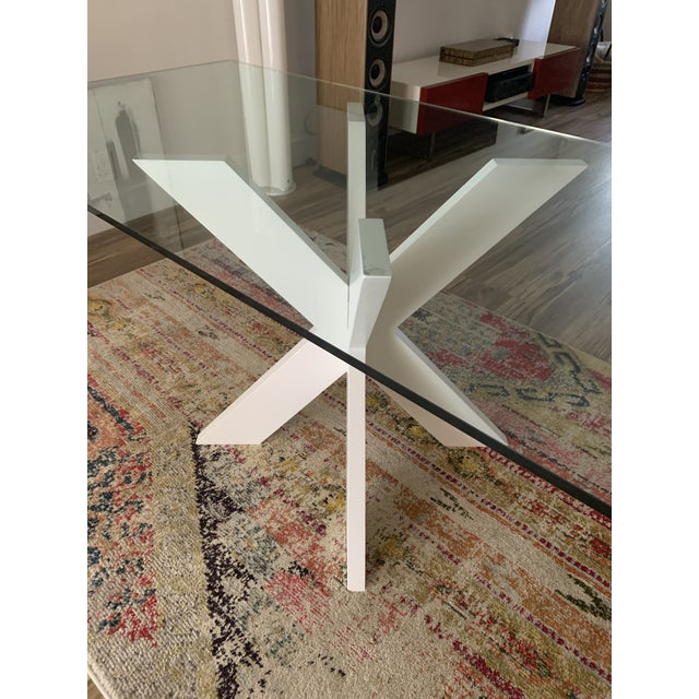 White Lacquer X Table Base For Sale - Image 4 of 13