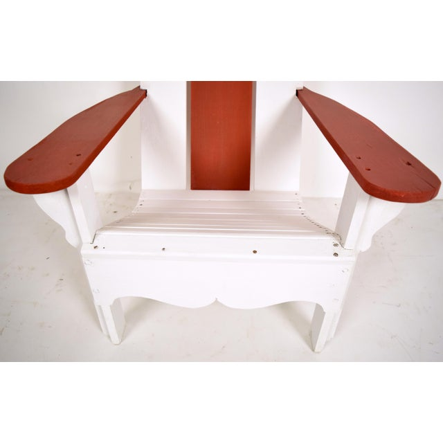 1970's White & Red Wood Pool Lounge Chairs - Pair - Image 4 of 8