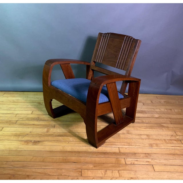 Blue 1930s Solid Teak Veranda Chair, Danish Colonial Indonesia For Sale - Image 8 of 11