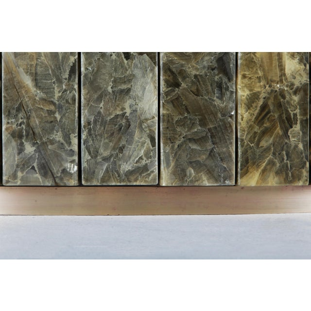 Jean Charles Onyx and Gold Leaf Marble and Brass Dining Table For Sale - Image 9 of 10