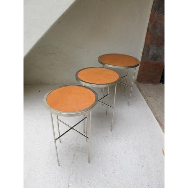 Saddle Leather Topped End Table For Sale - Image 5 of 7