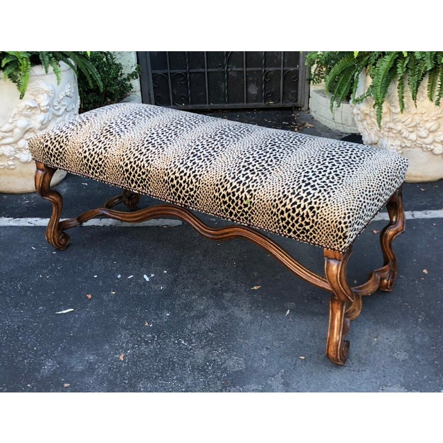Randy Esada Designs for Prospr Clarence House Cheetah - 18c Style Carved Italian Walnut Bench by Randy Esada Designs for Prospr For Sale - Image 4 of 4