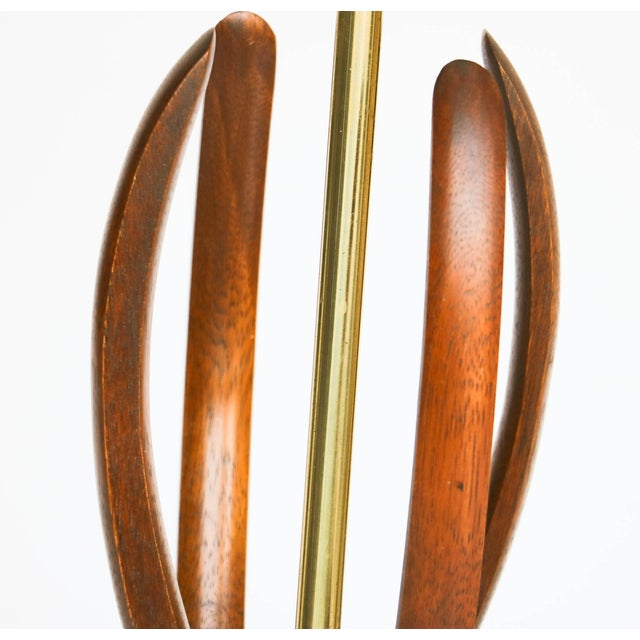 Pair Mid Century Sculptural Teak Wood Lamps - Image 6 of 9
