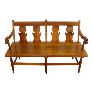 1980s Vintage Stickley Solid Cherry Settee For Sale