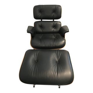 Modern Authentic Black Leather and Walnut Eames Recliner & Ottoman For Sale